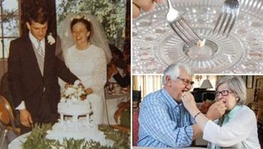 يتناولان قطعة من كعكة زفافهما المثلّجة منذ 49 سنة في ذكرى زواجهما