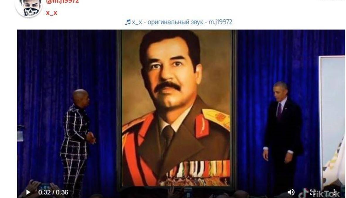"""أوباما """"يرفع الستارة عن صورة كبيرة لصدام حسين""""؟ FactCheck#"""