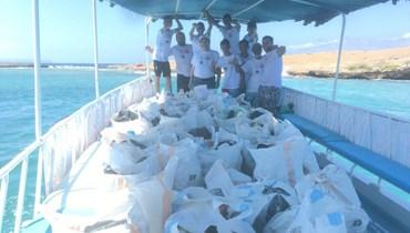حملة تنظيف للّجنة اللبنانية للبيئة والتنمية المستدامة لجزر البلّان والرميلة قبالة شاطىء طرابلس- الميناء