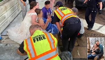 في يوم زفافها... ممرّضة تساعد ضحيّة حادث سير بالفستان الأبيض
