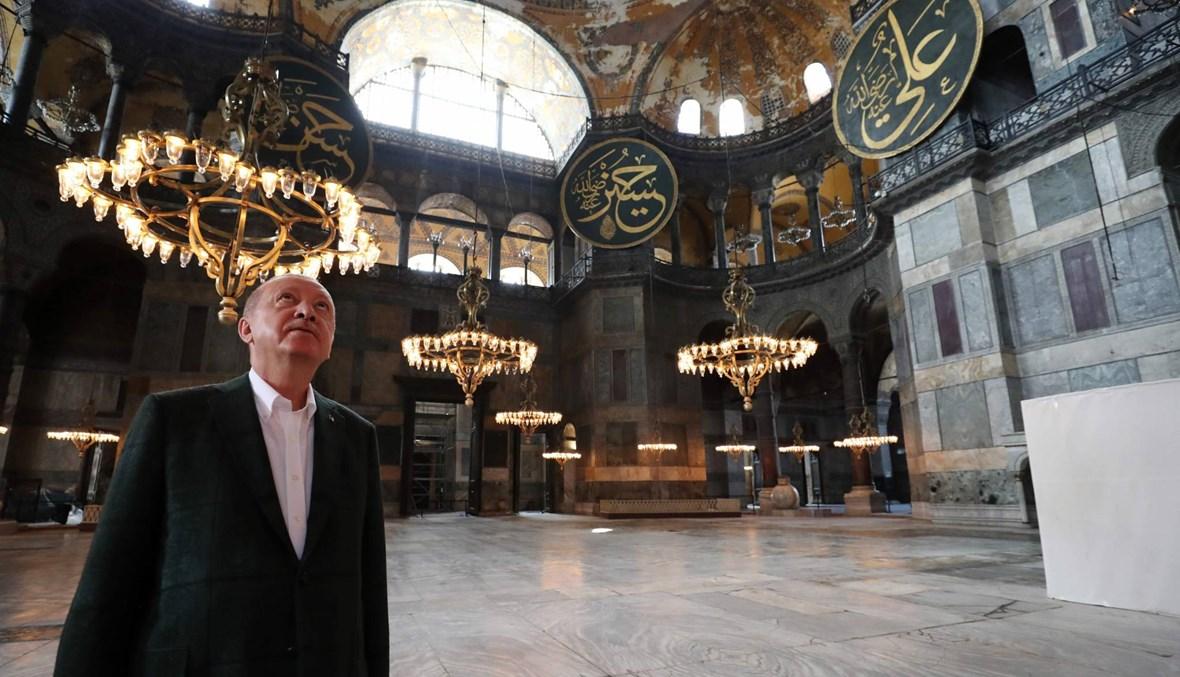 """أردوغان في """"آيا صوفيا""""... مُستبقاً صلاة الجمعة الأولى فيه"""