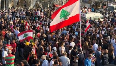 """مسيرة من الجميزة نحو ساحة الشهداء والمرفأ: """"الثورة تولد من رحم الأحزان"""" (صور وفيديو)"""