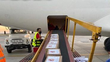 طائرة أرمنية محملة بمواد طبية وغذائية وصلت بيروت