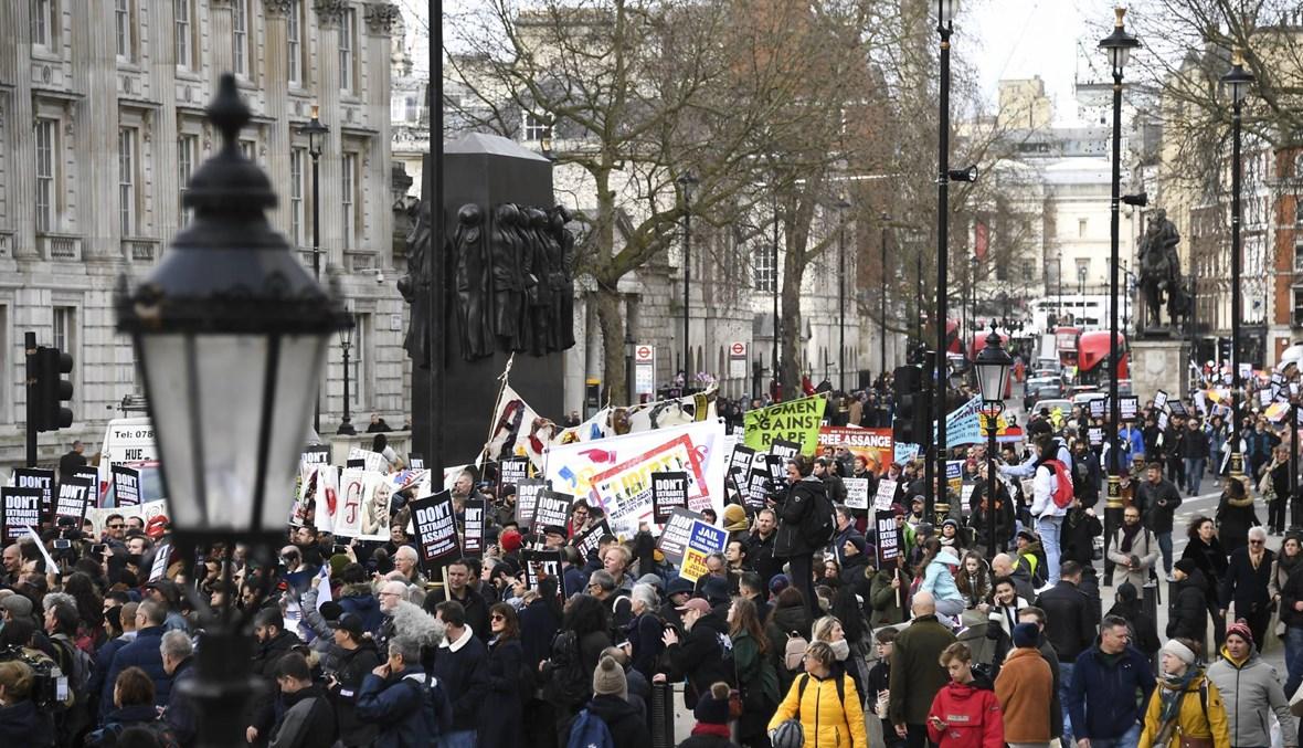 """""""افرجوا عن أسانج""""... تظاهرة في لندن ضدَّ تسليمه لواشنطن"""