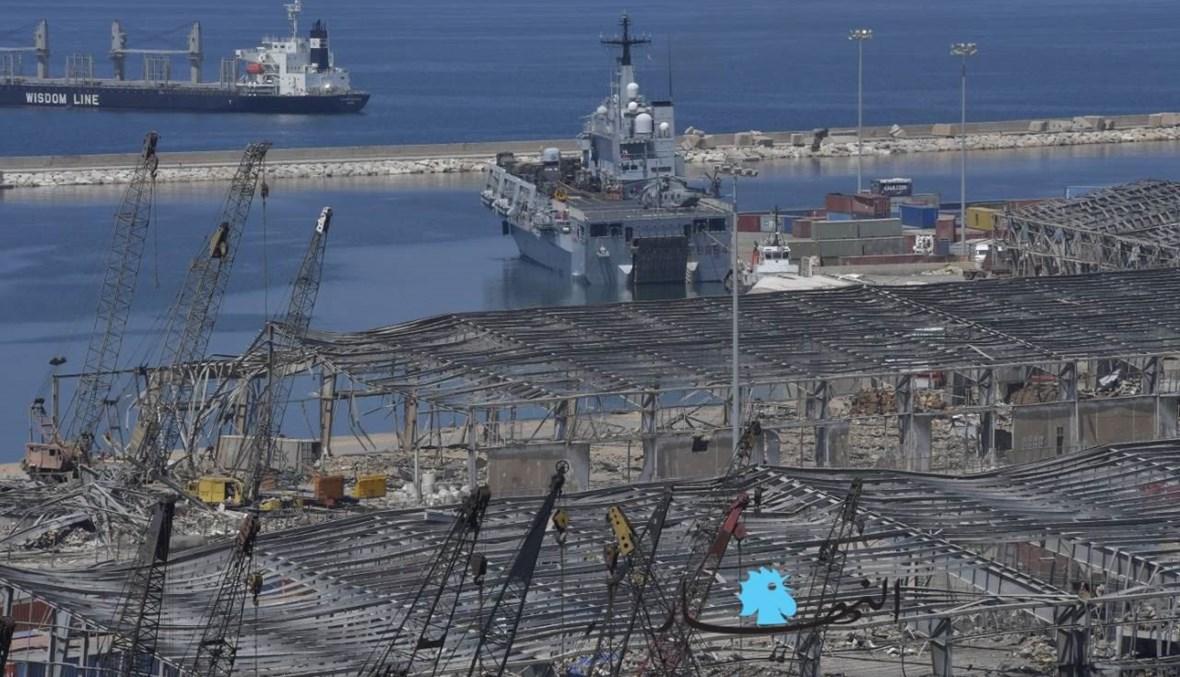 السفينة التابعة للبحرية الإيطالية في مرفأ بيروت (نبيل اسماعيل).