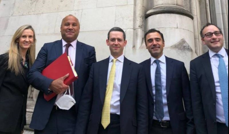Bilal Khalifeh (2nd from left) with his legal team, outside the Royal Courts of Justice in London. (Photo Courtesy of Khalifeh)