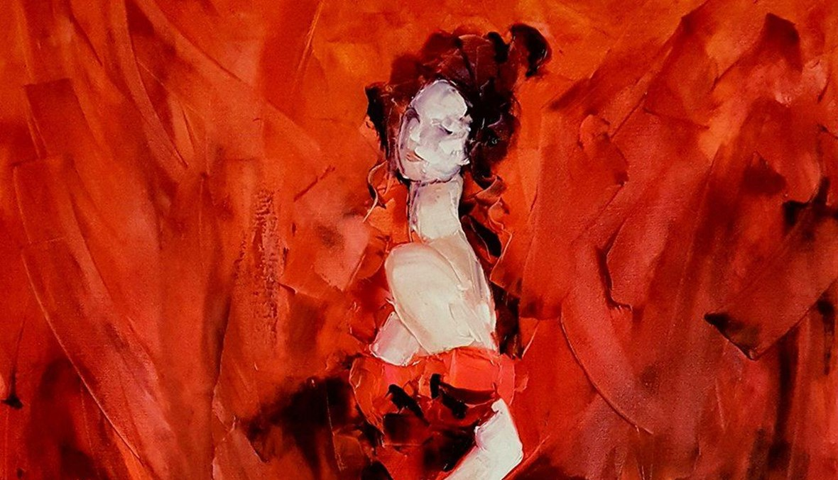 امرأة بالأحمر (تعبيرية- Jivan Hovhannisyan).