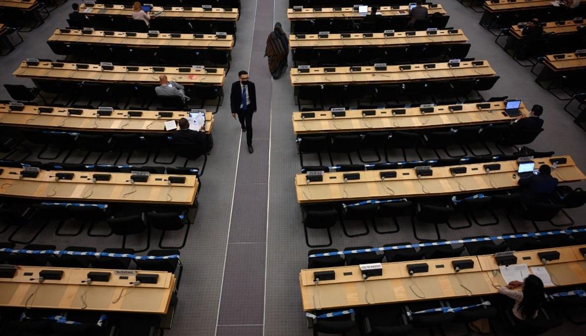 مندوبون خلال جلسة لمجلس حقوق الإنسان في مكاتب الأمم المتحدة في جنيف (16 أيلول 2020، أ ف ب).