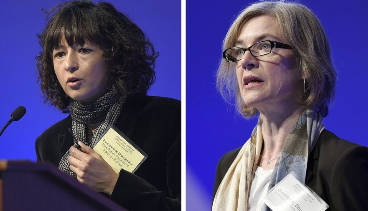 Emmanuelle Charpentier, left, and Jennifer Doudna, both speaking at the National Academy of Sciences international summit on the safety and ethics of human gene editing, in Washington. (AP Photo)