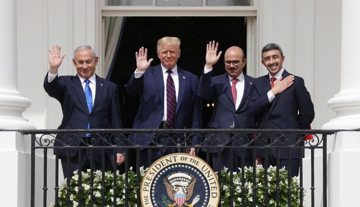 نتنياهو، ترامب، الزياني، وعبد الله بن زايد خلال احتفال اتفاقيات إبراهيم في البيت الأبيض (15 أيلول 2020، أ ف ب).
